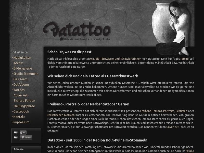 Screenshot von www.datattoo.de